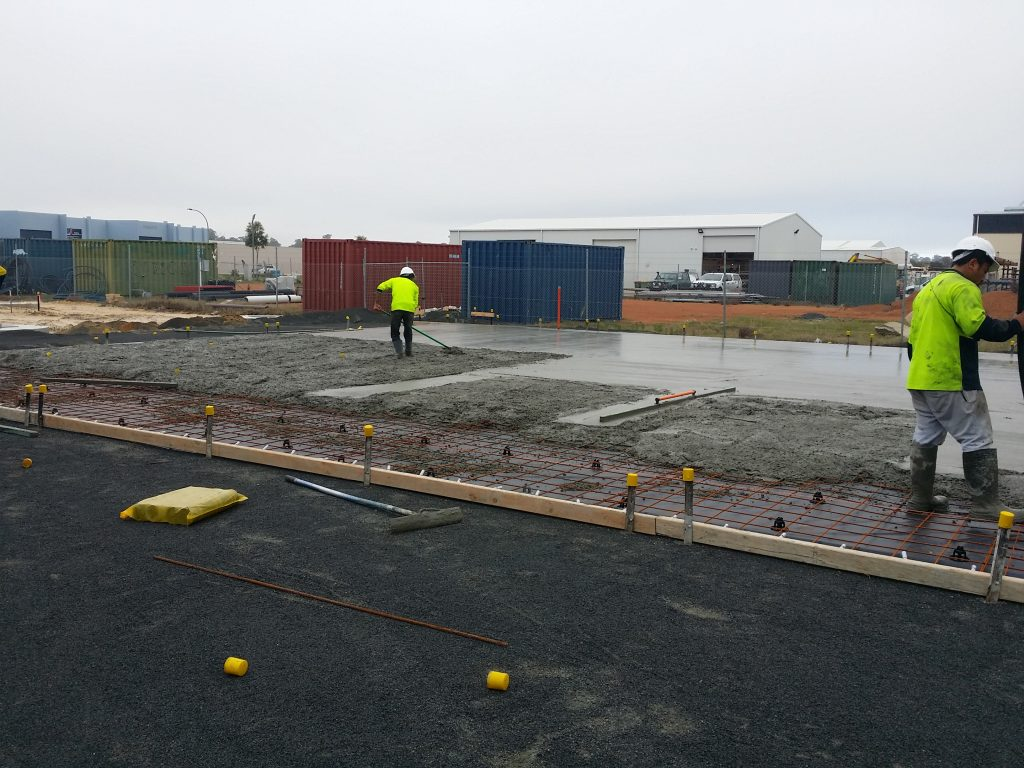 Laying the concrete on new CPR Outdoor Centre Shed